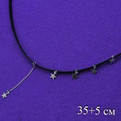 Цепочка Xuping№445 35 + 5 см черного цвета со звездочками Хьюпинг бижутерия оптом.