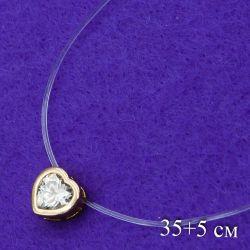 Цепочка Xuping№448 35 + 5 см невидимка с сердечком Хьюпинг бижутерия оптом.