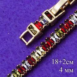 Браслет Xuping№183 18 + 2 см с камнями разного цвета недорого в интернет-магазине оптом.