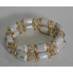 Браслет белый с золотом№412