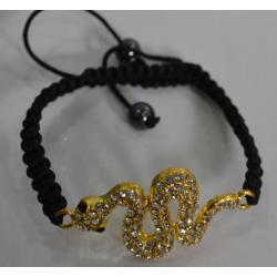 Браслет шамбала золотая змея№417