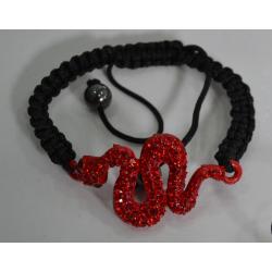 Браслет шамбала красная змея№419