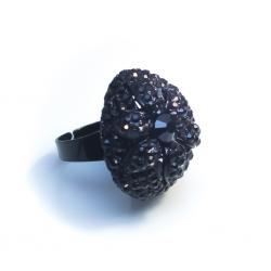 Кольцо с черными камнями№6