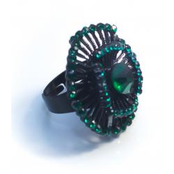 Кольцо с зелеными камнями№9