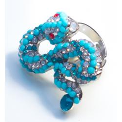 Кольцо голубая змея№19