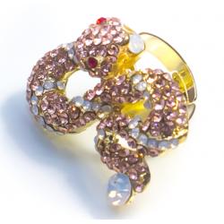 Кольцо золотая змея №20
