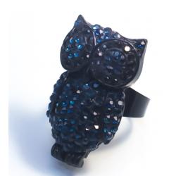 Кольцо сова с темно-синими камнями№26