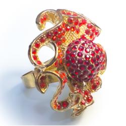 Кольцо красный цветок с бутоном№27