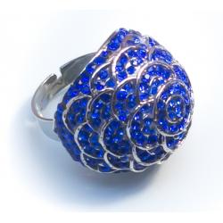 Кольцо роза с синими камнями№32