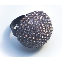 Кольцо шар с серыми камнями№34