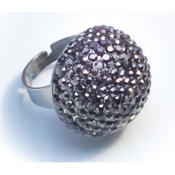 Кольцо шар со светло-серыми стразами№36
