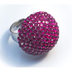 Кольцо шар с малиновыми камнями№37