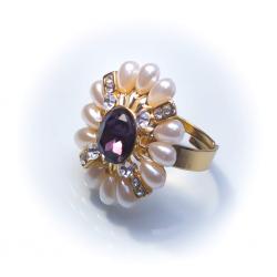 Кольцо с жемчужинами с серым камнем № 44