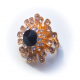 Кольцо с белыми стразами и черным камнем №50