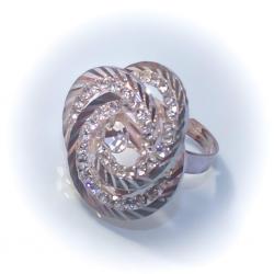 Кольцо белый металл № 55