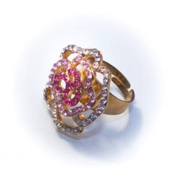 Кольцо желтое с белыми и розовыми стразами № 59