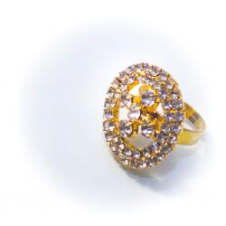 Кольцо желтое со стразами № 60