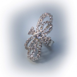 Кольцо белое с белыми камнями № 73