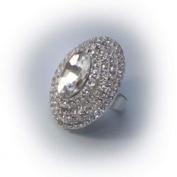 Кольцо белое с белыми камнями № 77