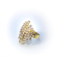 Кольцо желтое со стразами № 91