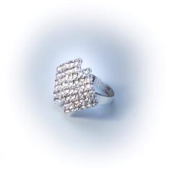 Кольцо белое со стразами № 94
