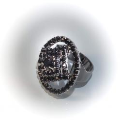 Кольцо черный металл с черными стразами № 100
