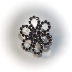 Кольцо черное с черными стразами № 109