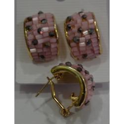 Серьги а/з розовая дорожка-бисер№62