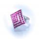 Кольцо с малиновыми стразами №129