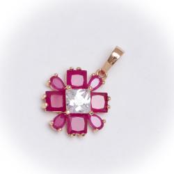 Кулон Xuping№36 цветок с розовыми цирконами