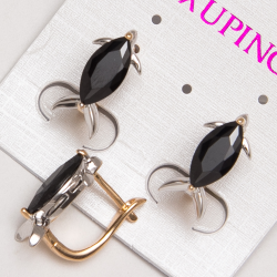 Серьги Xuping№214 с черным камнем