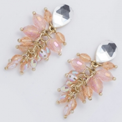 Серьги№712 розовые хрусталики на металле под золото
