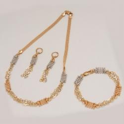 Комплект Xuping№17 колье,сережки и браслет оригинальное сочетание двух цветов