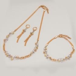 Комплект Xuping№20 колье,серьги и браслет-сочетание двух цветов золота
