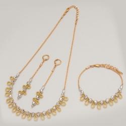 Комплект Xuping№21 колье,серьги и браслет-сочетание двух цветов золота