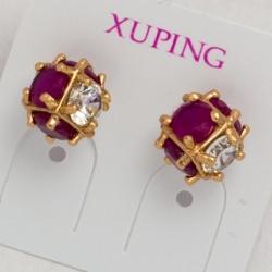 Гвоздики Xuping№344 шарики с белыми и малиновыми цирконами