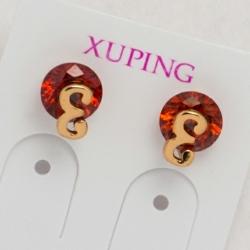 Гвоздики Xuping№351 красный циркон с орнаментом позолота