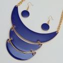 Подвеска№1042 синие полумесяцы с сережками покрытые красивой эмалью.