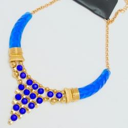 Подвеска№1092 с синими стразами и синими вставками на основе под золото египетский стиль