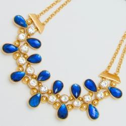 Подвеска№1096 ожерелье с синими стразами на основе под золото