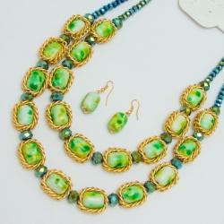 Подвеска№1149 зеленые камни в золотом обрамлении