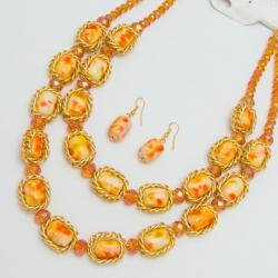 Подвеска№1150 оранжевые камни в золотом обрамлении с сережками