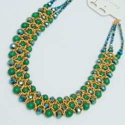 Подвеска№1152 зеленые хрусталики с зелеными жемчужинами в золотом обрамлении