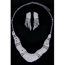 Колье№277 волна со стразами белого цвета на металле под серебро.