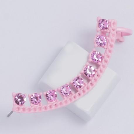 Серьги №887 дуга с розовыми сразами.