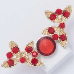 Серьги №888 большие красные камни на бабочках.