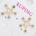 Гвоздики Xuping№429 звездочка с яблочными камнями.