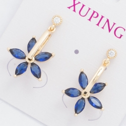 Серьги Xuping№447 висюлька с синим цветочком.