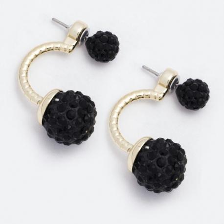 Серьги №907 черные шарики со стразами.