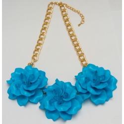 Подвеска№1234 голубые цветы на цепочке под золото